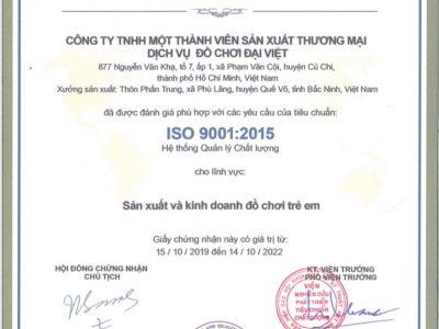 Thương hiệu Đồ chơi Đại Việt được chứng nhận bởi viện kiểm định chất lượng ISO 9001